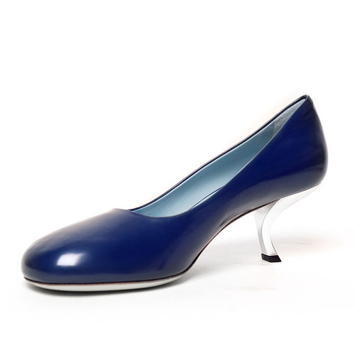 Blue 'Curved' Low Heel