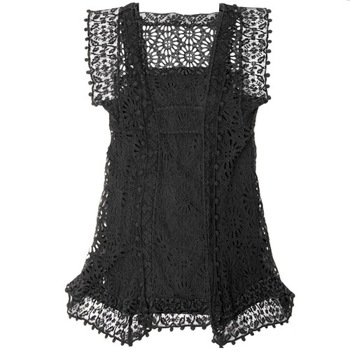 Black Eyelet Pom-Pom Dress