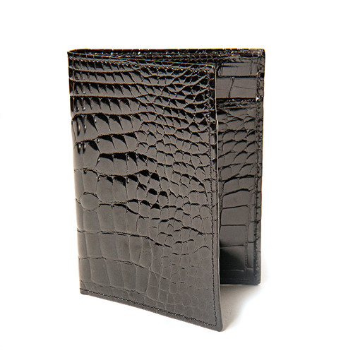 Glossy Black Alligator  Folding Wallet