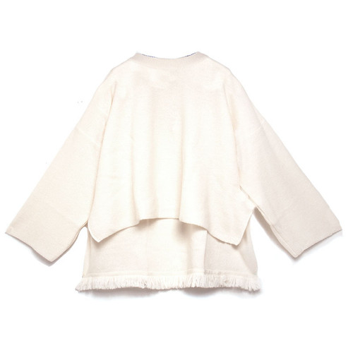 Cream Knit Fringe Pullover