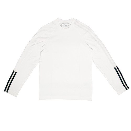 3-Stripe Long Sleeve White Tee