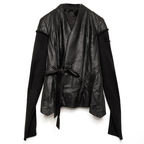 Knit-Sleeve Wrap Leather Jacket