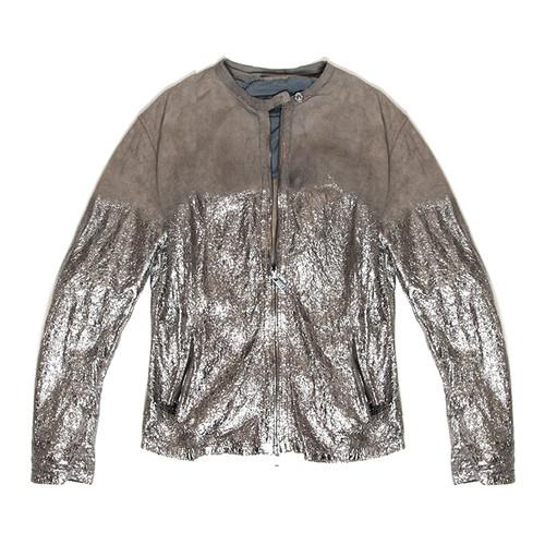 Metallic Painted Leather Jacket