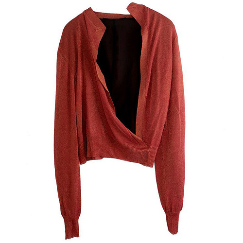 Raspberry & Orange Lurex Asymmetric Cardigan