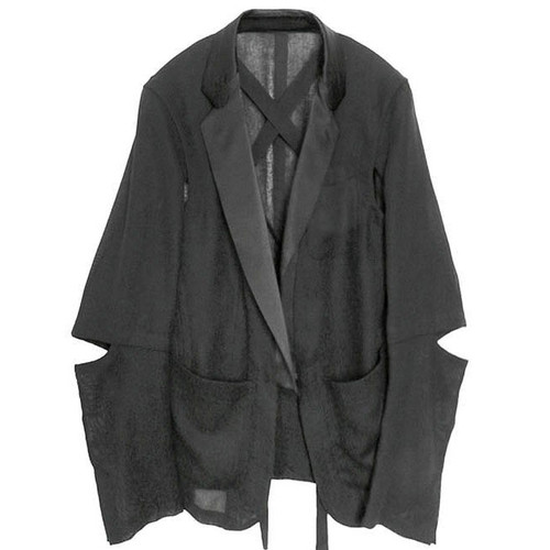 Black Wool Mesh & Silk Lambskin Jacket