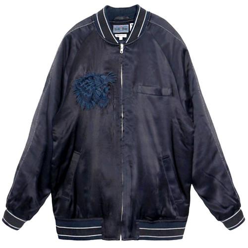 Indigo Satin Souvenir Bomber Jacket