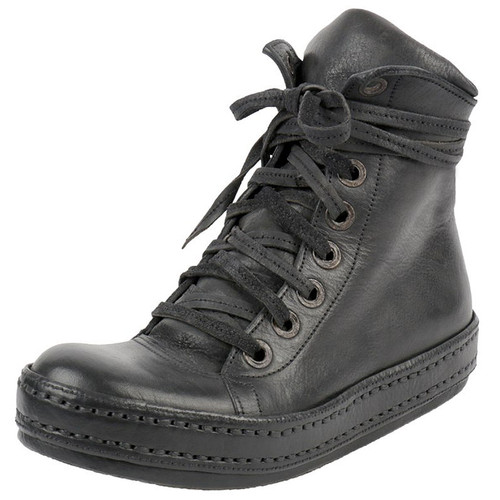 Handmade Black Leather Hi-Top