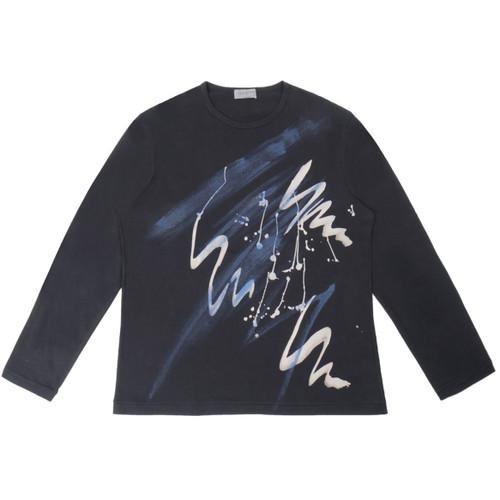 Black Printed Calligraphy Tee Shirt