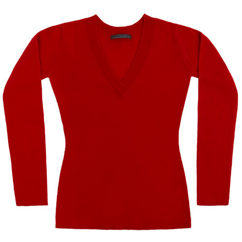 Red Cashmere V Neck Sweater