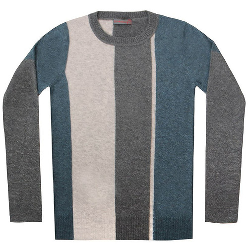 Grey & Blue Color Block Crew Neck Sweater