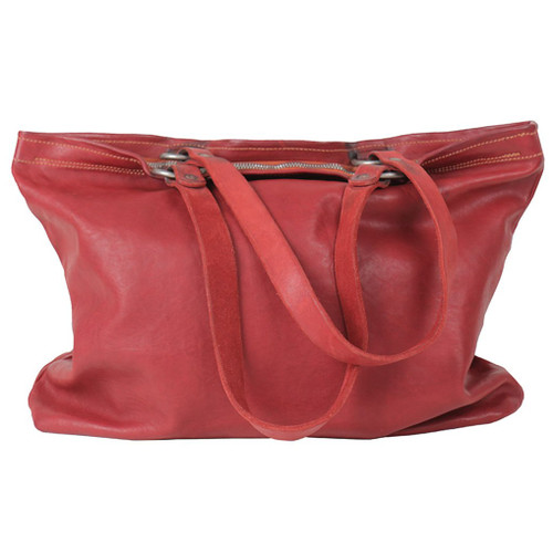 Red Zipped Leather Shopper