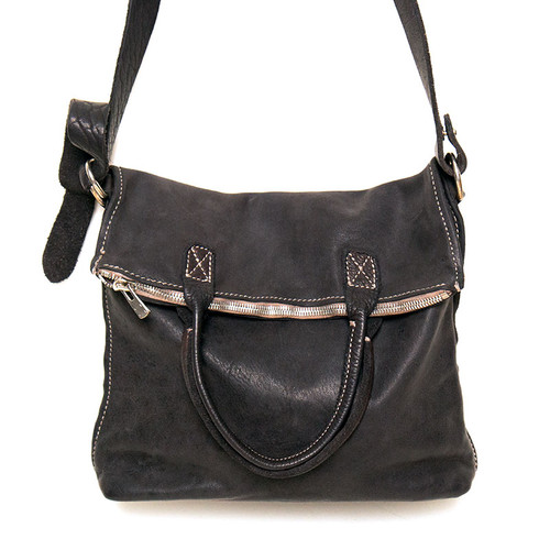 Black Folded Messenger Bag
