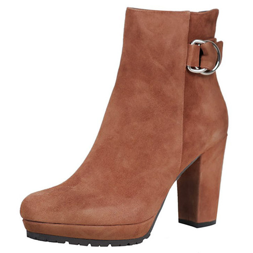 Brown Suede Buckled Ankle Boot