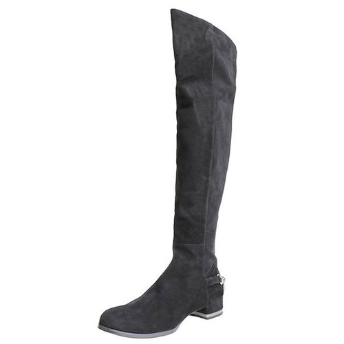 Black Suede & Chains Knee High Boot