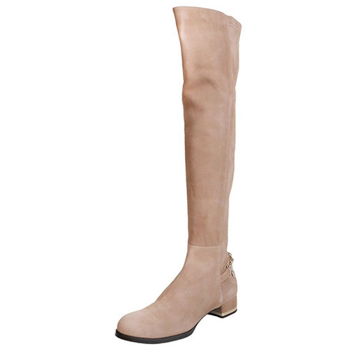 Brown Suede & Chains Knee High Boot