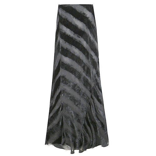 Black Velvet Striped Long Skirt