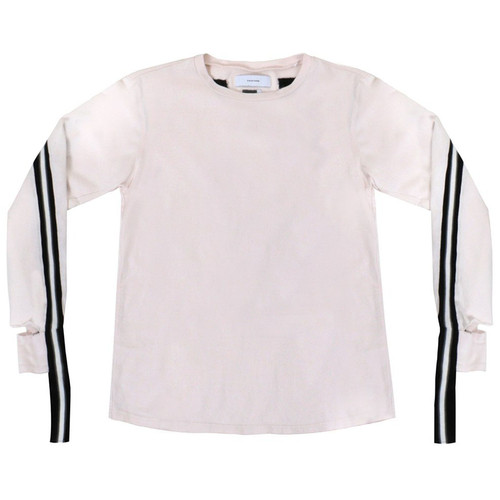 Pink Racing Stripe Long Sleeve Tee