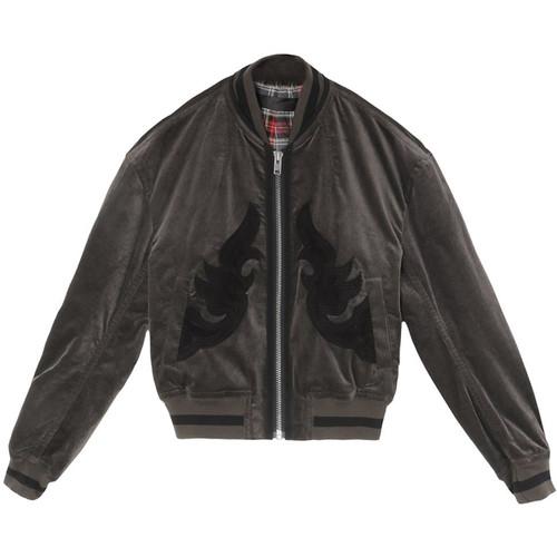 Gothic Appliqué Velour Bomber Jacket