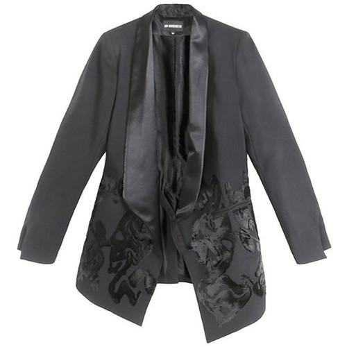 Black Brocade Tuxedo Jacket