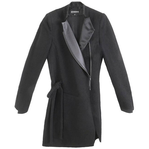 Black Drawstring Cinch Zippered Lapel Coat