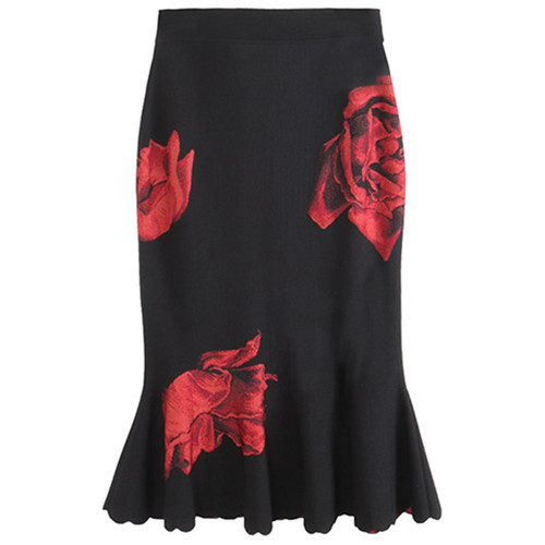 Rose Jacquard Long Knit Skirt