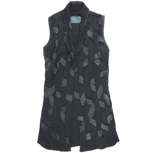 Black 'Leather Woven' Knit Vest