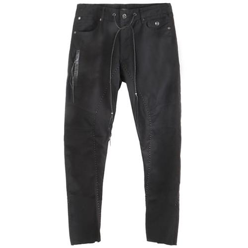 Black Skinny Twill Drawstring Jeans