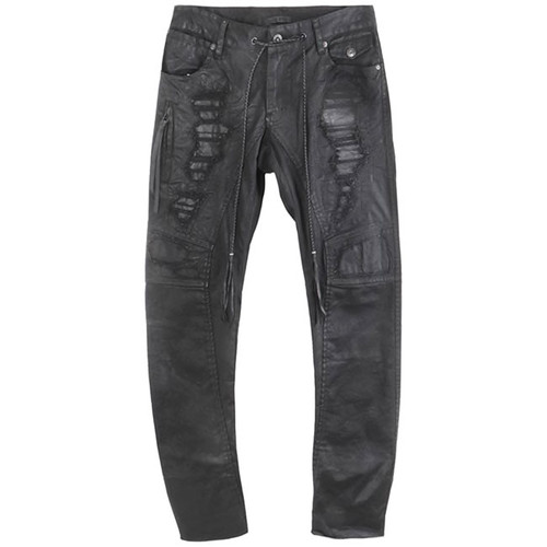 Charcoal 'Crush' Coated Drawstring Jeans