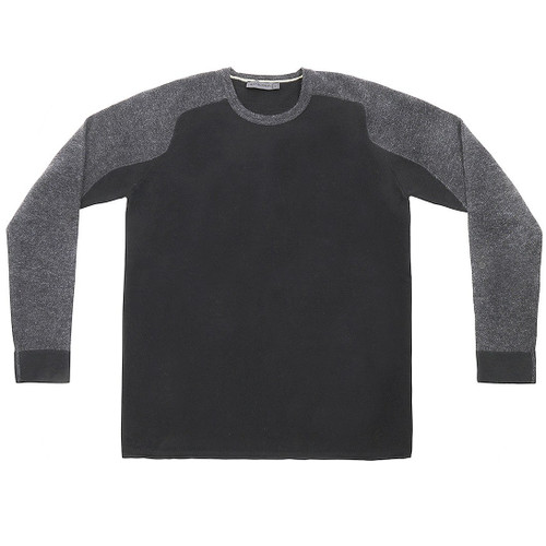 Black & Grey Color Block Raglan Sweater