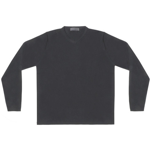 Black High Vee Neck Sweater
