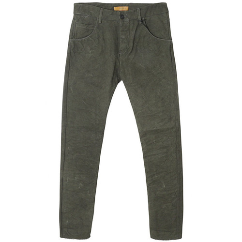 Green Five Pocket Canvas Trouser