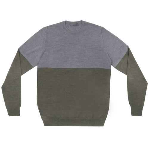 Grey-Green Colorblock Crewneck