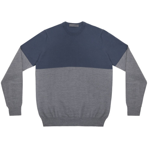 Navy & Grey Colorblock Crewneck  Sweater