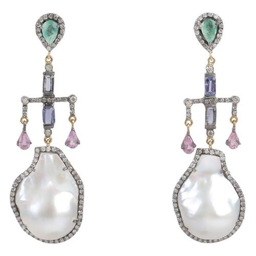 Emerald & Freshwater Pearl Drop Earrings