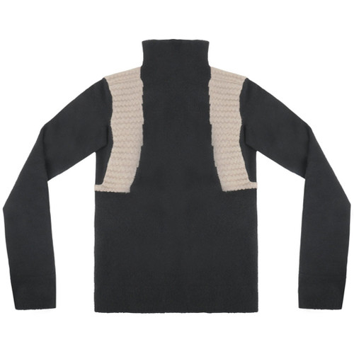 Black Funnel Neck Mock Wool Sweater
