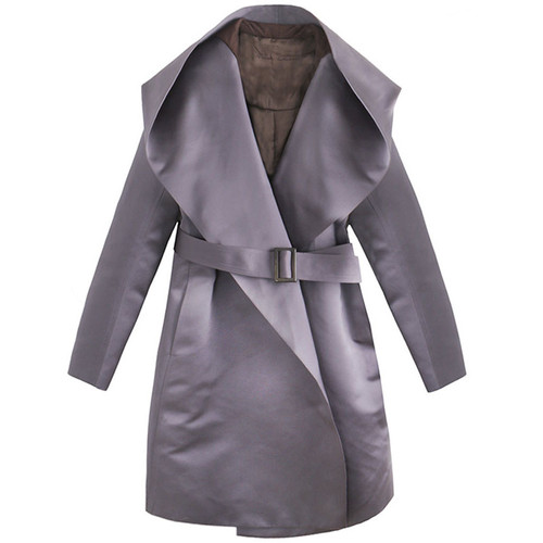 Plum Satin Hooded Coat