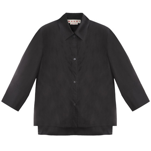 Black Mid-Sleeve Dress Shirt