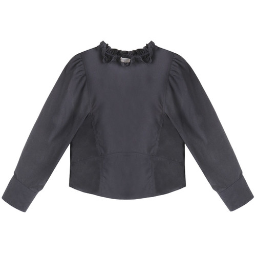 Navy Long sleeve Victorian Blouse