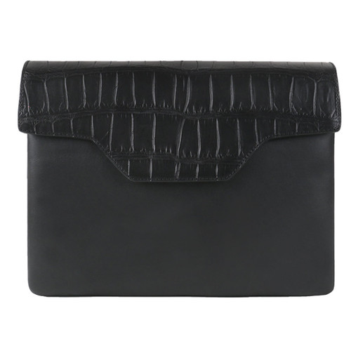 Black Croc & Leather Clutch bag