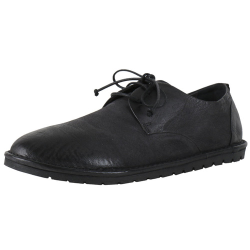 Black Leather White Sole Lace Shoe