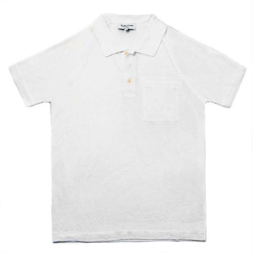 White Linen Polo Tee