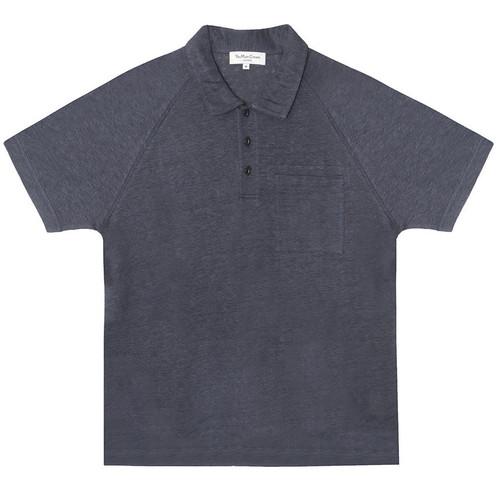 Navy Linen Polo Tee