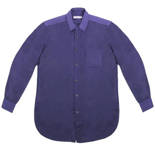 Indigo Cotton and Rayon Panel Shirt