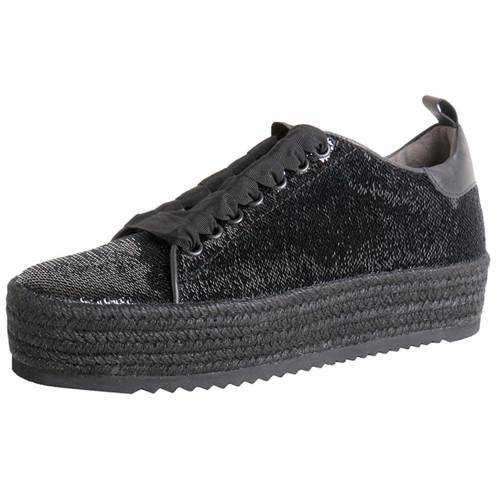 Black Sequin Espadrille Platform Sneaker