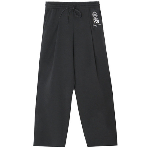 Black Y-3 Logo Luxe Wide-Leg Pant