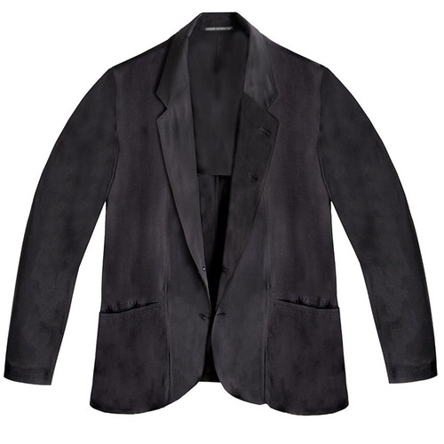 Black Lawn Suit with Draped Pockets