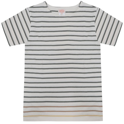 Olive & White Short Sleeve Stripe Tee