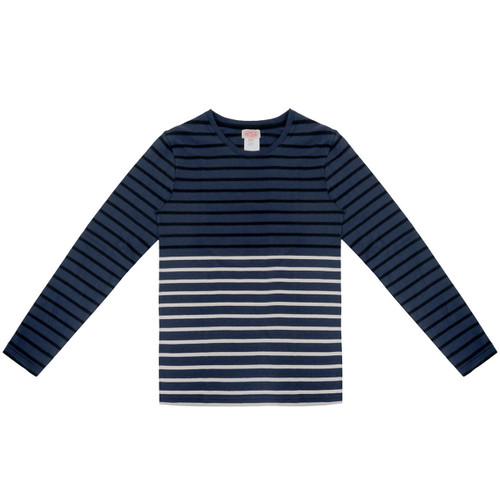 Dark Blue & Black Striped Long Sleeve Tee