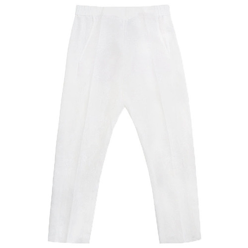 White Floral Elastic Waistband Trousers