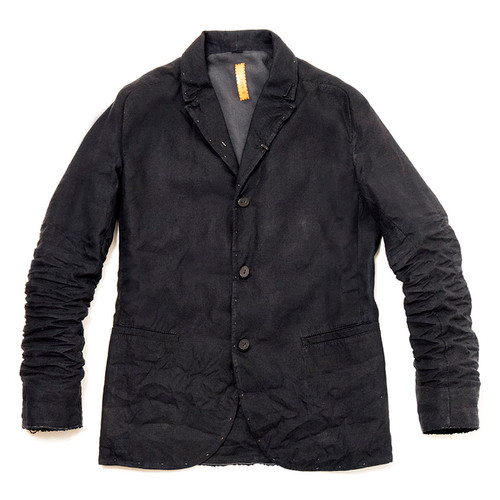 Dark Blue Linen Ruched Jacket